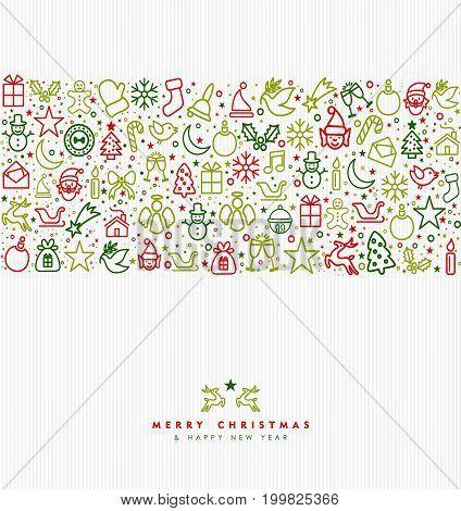 Christmas Holiday Line Art Icon Greeting Card