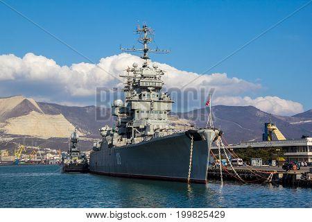 NOVOROSSIYSK, RUSSIA - March 6, 2016: The ship-museum cruiser