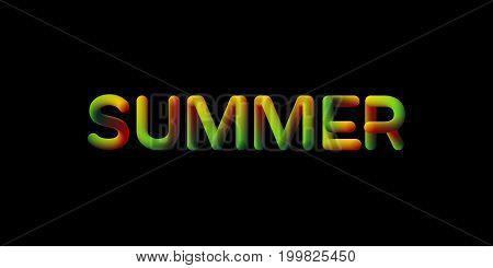 3d gradient Summer season sign. Typographic minimalistic element. Vibrant blended gradient label. Liquid color. Creativity concept. Visual communication poster design. Vector illustration.