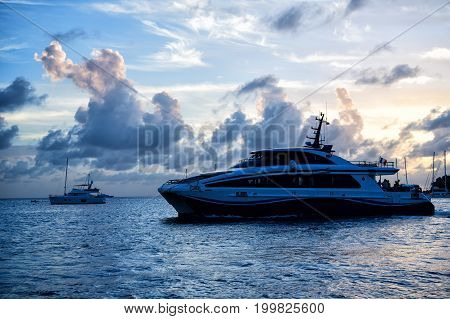 Yacht Boat Or Ship On Sea In France In Evening
