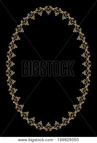 Golden curl on black background vector art, asia, white, black