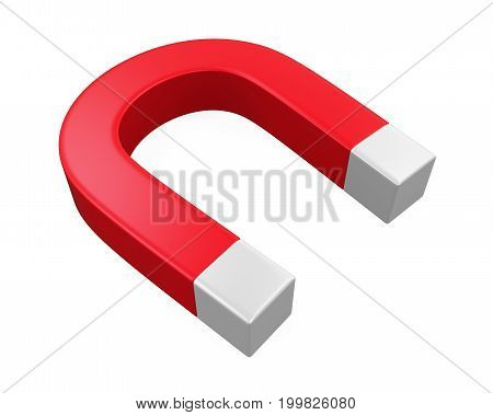 Horseshoe Magnet isolated on white background. 3D render