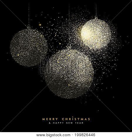 Christmas And New Year Gold Glitter Bauble Art