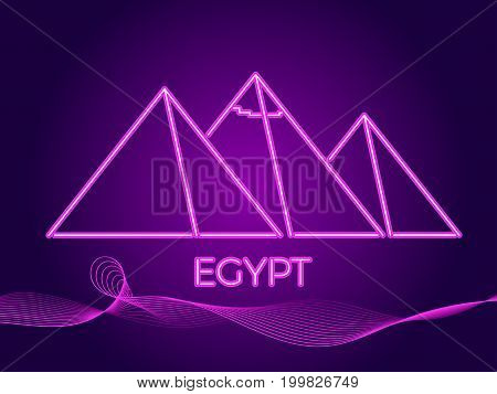 Egyptian Pyramids Of Neon. Icon In The Style Of 80's. Vector Illustration