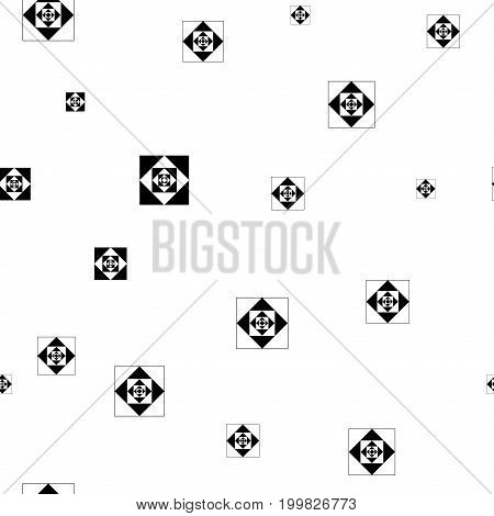 Square black chaotic seamless pattern. Fashion graphic background design. Modern stylish abstract texture. Monochrome template for prints textiles wrapping wallpaper website. Vector illustration