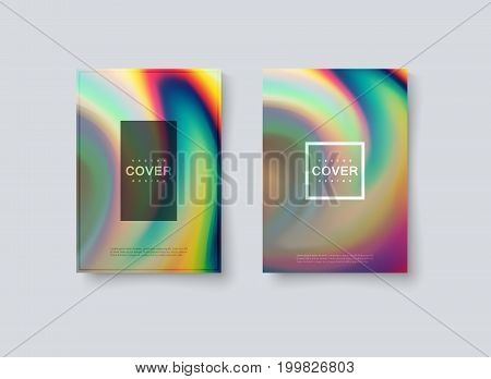Abstract holographic iridescent cover design. Vector creative illustration. Mockup template for corporate branding. A4 paper size poster with abstract rainbow background. Flyer or brochure template.