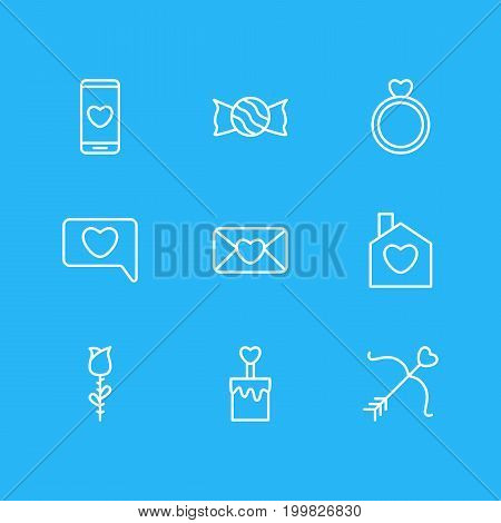 Editable Pack Of Messenger, Home, Engagement And Other Elements.  Vector Illustration Of 9 Passion Icons.