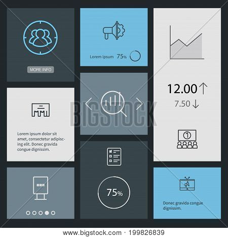 Collection Of Audience, Target, Client Brief And Other Elements.  Set Of 8 Trade Outline Icons Set.
