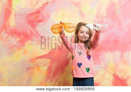 Girl Smiling With Two Funny Sunglasses