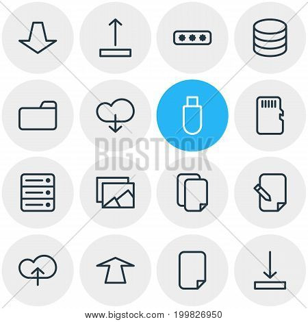Editable Pack Of Database, Parole, Upload And Other Elements.  Vector Illustration Of 16 Storage Icons.