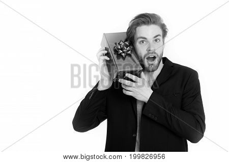 Handsome Happy Businessman Holding Blue Gift Box