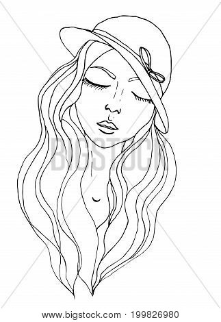 Vector pretty girl wearing hat in doodle style.