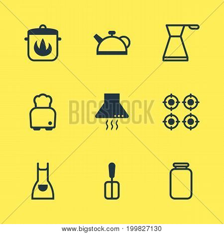 Editable Pack Of Kettle, Bread, Can And Other Elements.  Vector Illustration Of 9 Cooking Icons.