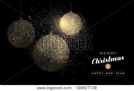 Merry Christmas and Happy New Year gold greeting card illustration. Holiday decoration ornaments made of golden glitter dust. EPS10 vector.