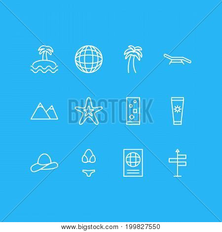 Editable Pack Of Island , Fish , Swimwear Elements.  Vector Illustration Of 12 Summer Icons.