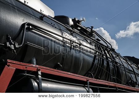boiler of the historic steam locomotive in Poland