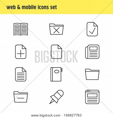 Editable Pack Of Blank, Done, Page And Other Elements.  Vector Illustration Of 12 Office Icons.