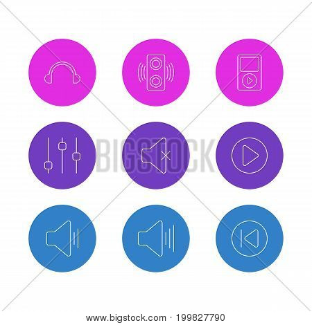 Editable Pack Of Stabilizer, Mp3, Amplifier And Other Elements.  Vector Illustration Of 9 Melody Icons.