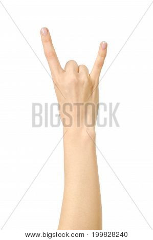 Woman's Hand Showing Rock Gesture