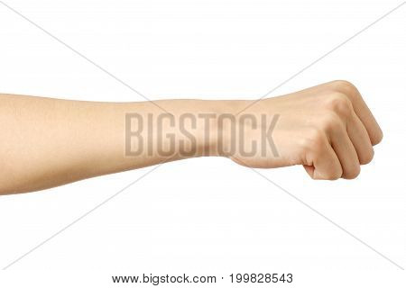 Fist Caucasian Woman's Hand Gesture