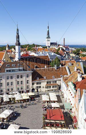 TALLINN ESTONIA - JULY 26 2017: Town hall square in the old town of Tallinn Estonia on July 26 2017