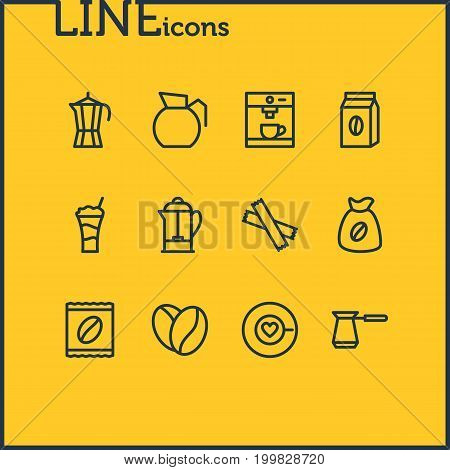 Editable Pack Of Bag, Cocktail, Sweetener And Other Elements.  Vector Illustration Of 12 Java Icons.