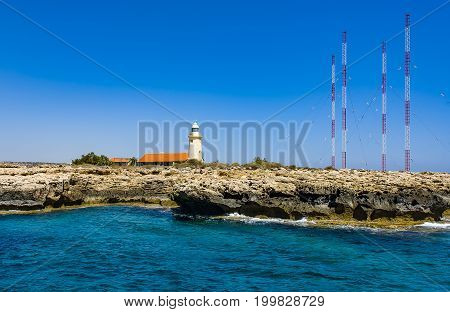 Some lighthouse on Cyprus island Lighthouse Sea Island Cyprus