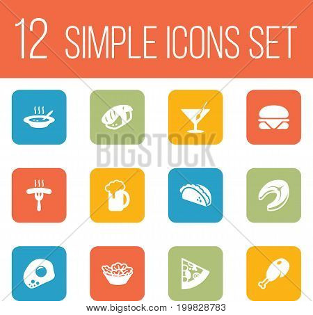 Collection Of Eggs, Lettuce, Japanese Roll And Other Elements.  Set Of 12 Dish Icons Set.