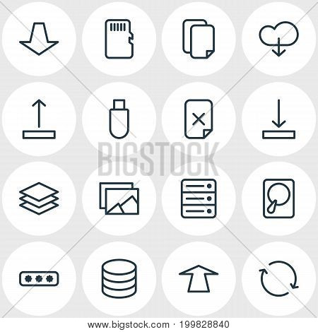 Editable Pack Of Memory, Parole, Layer And Other Elements.  Vector Illustration Of 16 Memory Icons.