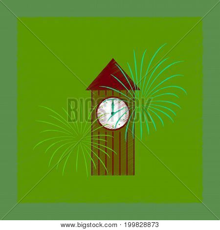flat shading style icon of Christmas clock