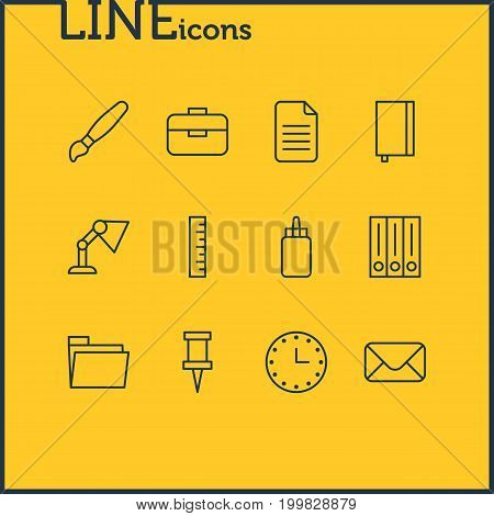 Editable Pack Of Meter, Letter, Adhesive And Other Elements.  Vector Illustration Of 12 Tools Icons.