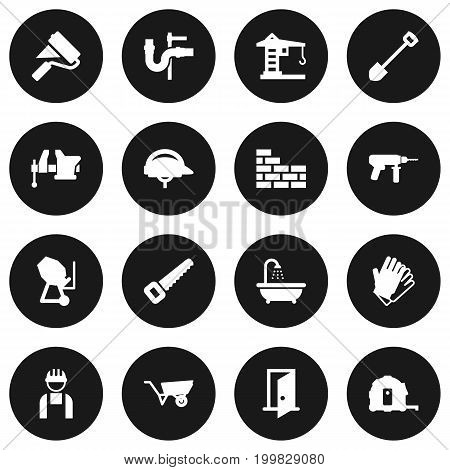 Collection Of Pushcart, Cement Machine, Clamp And Other Elements.  Set Of 16 Work Icons Set.