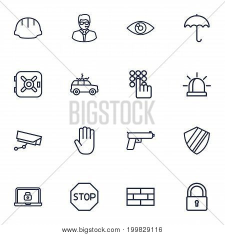 Collection Of Protection , Hand , No Entry Elements.  Set Of 16 Security Outline Icons Set.