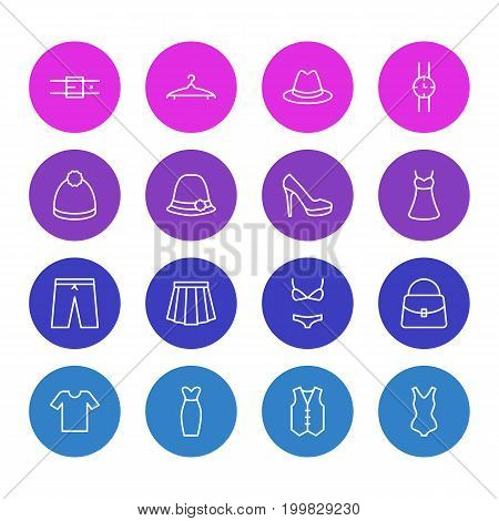 Editable Pack Of Swimsuit, Sandal, Cloakroom Elements.  Vector Illustration Of 16 Garment Icons.