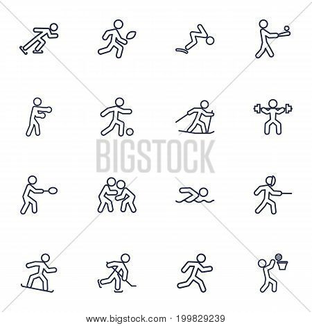 Collection Of Batting, Swordplay, Puck And Other Elements.  Set Of 16 Athletic Outline Icons Set.