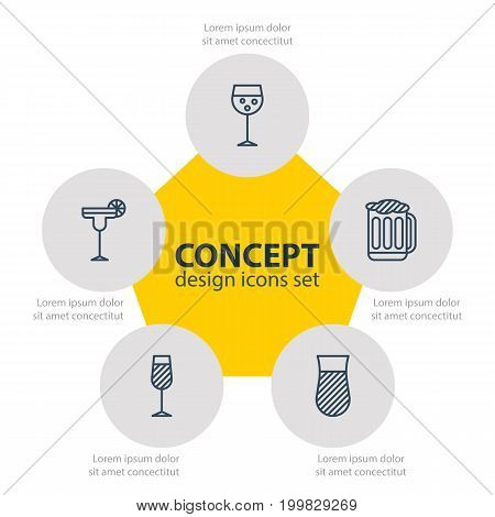 Editable Pack Of Goblet, Draught, Beverage And Other Elements.  Vector Illustration Of 5 Beverage Icons.