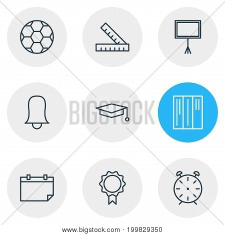 Editable Pack Of Date, Meter, Trophy And Other Elements.  Vector Illustration Of 9 Studies Icons.