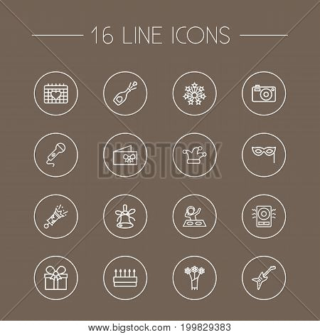 Collection Of Event, Firecrackers, Decorative And Other Elements.  Set Of 16 Party Outline Icons Set.