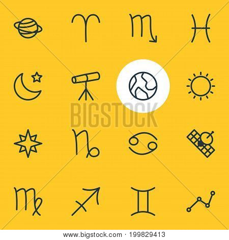 Editable Pack Of Goat, Fishes, Virgin And Other Elements.  Vector Illustration Of 16 Astrology Icons.