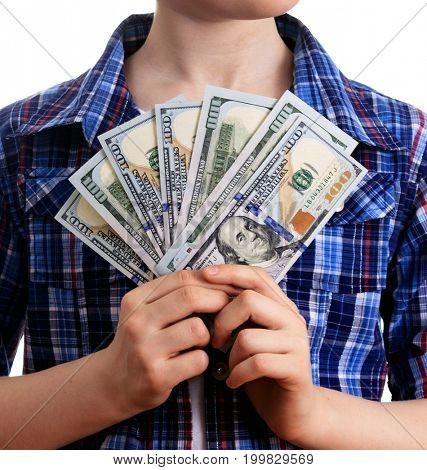 Hands holding the US dollars on a white background