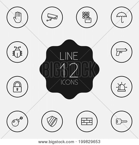 Collection Of Lock, Dynamite, Protection And Other Elements.  Set Of 12 Safety Outline Icons Set.