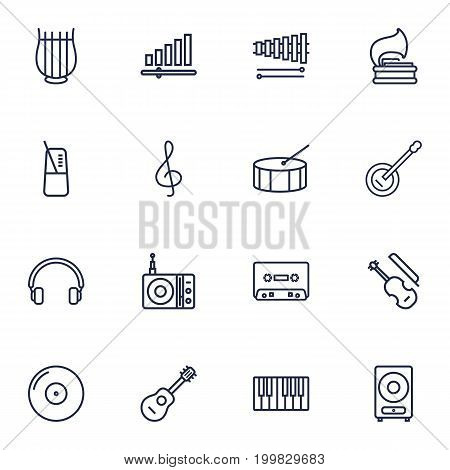 Collection Of Wooden Block, Vinyl, Loudspeaker And Other Elements.  Set Of 16 Music Outline Icons Set.