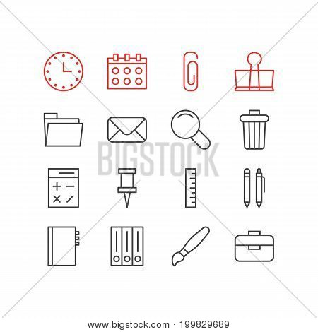 Editable Pack Of Calculate, Meter, Watch And Other Elements.  Vector Illustration Of 16 Instruments Icons.