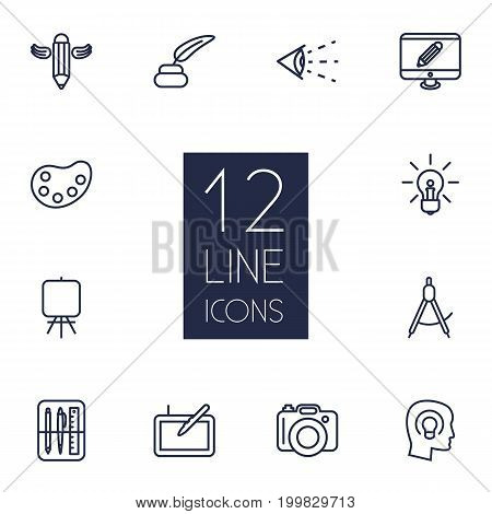 Collection Of Monitor, Idea, Writing And Other Elements.  Set Of 12 Creative Outline Icons Set.