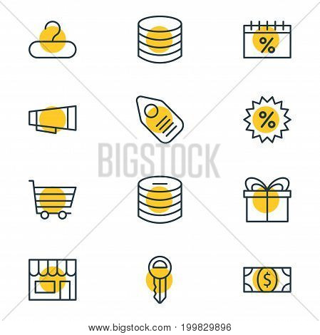 Editable Pack Of Advertising, Tag, Discount And Other Elements.  Vector Illustration Of 12 Commerce Icons.