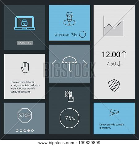 Collection Of Supervision , Hand , Keypad Elements.  Set Of 8 Security Outline Icons Set.