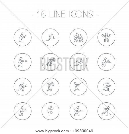 Collection Of Stick, Ice Skating, Puck And Other Elements.  Set Of 16 Athletic Outline Icons Set.