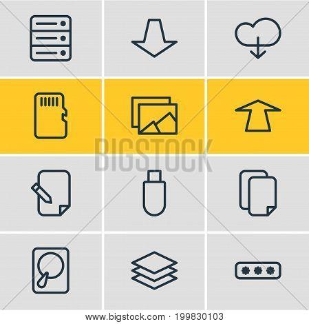 Editable Pack Of Database, Cloud, Memory And Other Elements.  Vector Illustration Of 12 Archive Icons.