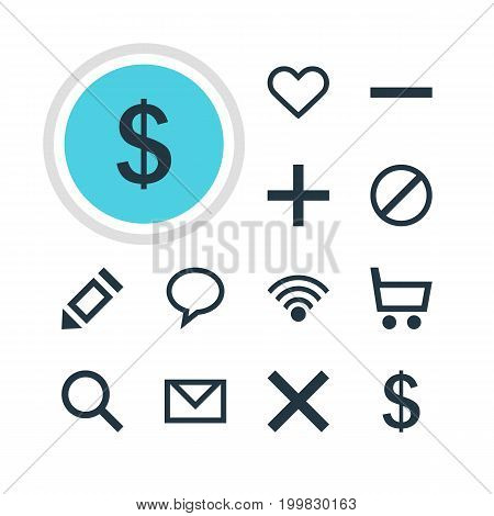 Editable Pack Of Plus, Cordless Connection, Heart And Other Elements.  Vector Illustration Of 12 User Icons.