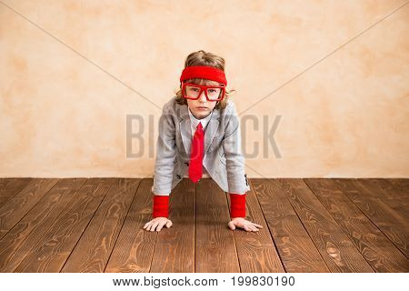 Child Pretend To Be Businessman